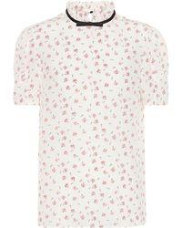 Miu Miu - Floral Silk Top - Lyst
