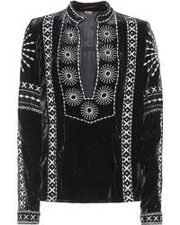 Dodo Bar Or - Embroidered Velvet Top - Lyst