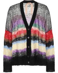 N°21 - Striped Mohair-blend Cardigan - Lyst