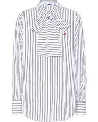 MSGM - Striped Cotton Shirt - Lyst