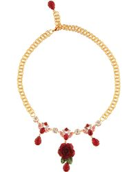 Dolce & Gabbana - Crystal-embellished Rose Necklace - Lyst
