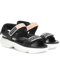 Prada - Cloudbust Logo-embossed Rubber And Canvas-trimmed Leather Sandals - Lyst