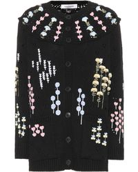 Valentino - Embroidered Wool Cardigan - Lyst