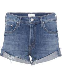 Mother - Rascal Cuffed Denim Cut-off Shorts - Lyst