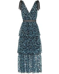 Self-Portrait - Tiered Sequined Midi Dress - Lyst