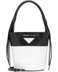 56966637ca Prada Soft Calf Large Studded Bucket Bag in Black - Lyst
