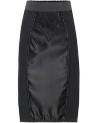 Dolce & Gabbana - Satin And Lace Pencil Skirt - Lyst