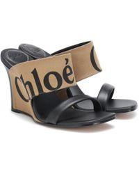 Chloé - Sandalias de lona y piel con cuña - Lyst