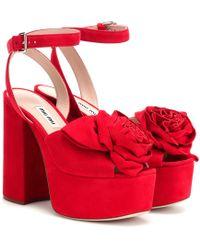 4296ab581f Miu Miu Velvet Block-heel Platform Sandals - Lyst
