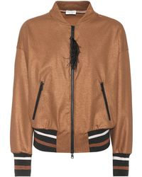 Brunello Cucinelli - Feather-trimmed Cotton Jacket - Lyst