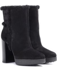Tod's - Shearling-lined Suede Ankle Boots - Lyst