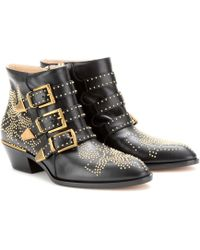 0dd92aee32a4 Chloé - Boots Susanna Nappa Leather Black Rivets Gold - Lyst