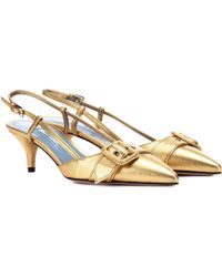 Prada - Metallic Leather Slingback Pumps - Lyst