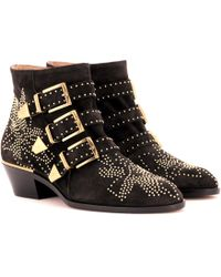 Chloé - Susanna Studded Suede Ankle Boots - Lyst