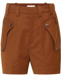 Chloé - Wool Twill Shorts - Lyst