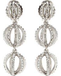 Oscar de la Renta - Crystal Clip-on Earrings - Lyst