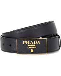 Prada - Leather Logo Plaque Belt - Lyst