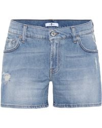 7 For All Mankind - Mid-rise Denim Shorts - Lyst