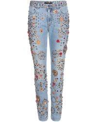 Dolce & Gabbana - Embellished Boyfriend Low-Rise Denim Jeans - Lyst