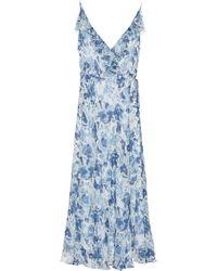 4e28db0b6f7 Polo Ralph Lauren - Robe longue portefeuille en soie imprimée - Lyst