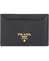 Prada - Logo Plaque Cardholder - Lyst