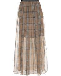 Brunello Cucinelli - Checked Silk Skirt - Lyst