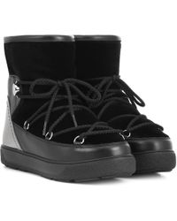 401c9b5672aa Moncler Concealed Wedge Lace-Up Boots in Black - Lyst