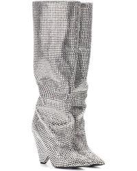 Saint Laurent - Niki 105 Crystal-embellished Boots - Lyst
