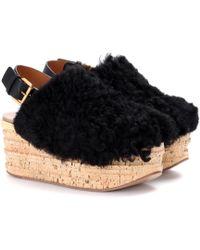 Chloé - Camille Platform Shearling Sandals - Lyst