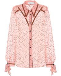 COACH - Printed Georgette Blouse - Lyst