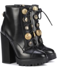 Dolce & Gabbana - Embellished Leather Ankle Boots - Lyst
