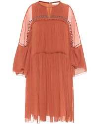 Chloé - Embellished Silk-crépon Dress - Lyst