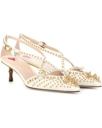 Gucci - Embellished Leather Pumps - Lyst