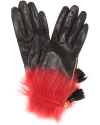 Prada - Fur-trimmed Leather Gloves - Lyst