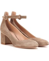 Gianvito Rossi | Greta Mid Suede Court Shoes | Lyst