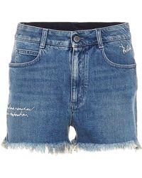 Stella McCartney - Embroidered Denim Shorts - Lyst