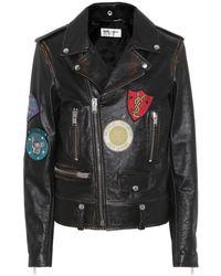 Saint Laurent - Leather Biker Jacket With Appliqués - Lyst