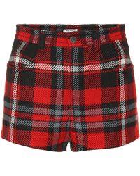 Miu Miu - Plaid Wool Shorts - Lyst