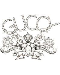 Gucci - Brosche mit Kristallen - Lyst