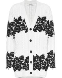 Valentino - Lace-trimmed Virgin Wool Cardigan - Lyst