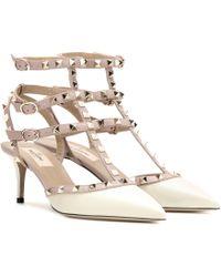 Valentino - Garavani Rockstud Leather Kitten-heel Pumps - Lyst