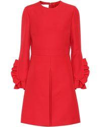 Valentino Pleated Crêpe Dress - Red
