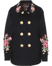 Dolce & Gabbana | Embellished Wool And Angora Coat | Lyst