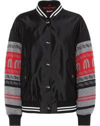 Miu Miu - Satin And Wool Varsity Jacket - Lyst