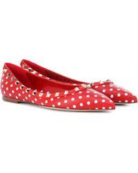 Valentino - Rockstud Polka-dot Leather Ballet Flats - Lyst