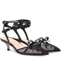 RED Valentino - Red (v) Soft Bow Leather Slingback Pumps - Lyst