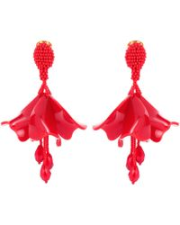 Oscar de la Renta - Cayenne Large Impatiens Floral Earrings - Lyst