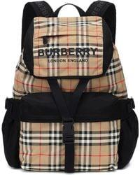 b8af433d25df Burberry - Logo Print Vintage Check Backpack - Lyst