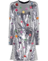 Dolce & Gabbana - Button Sequined Dress - Lyst