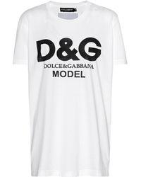 Dolce & Gabbana - Model Printed Cotton T-shirt - Lyst